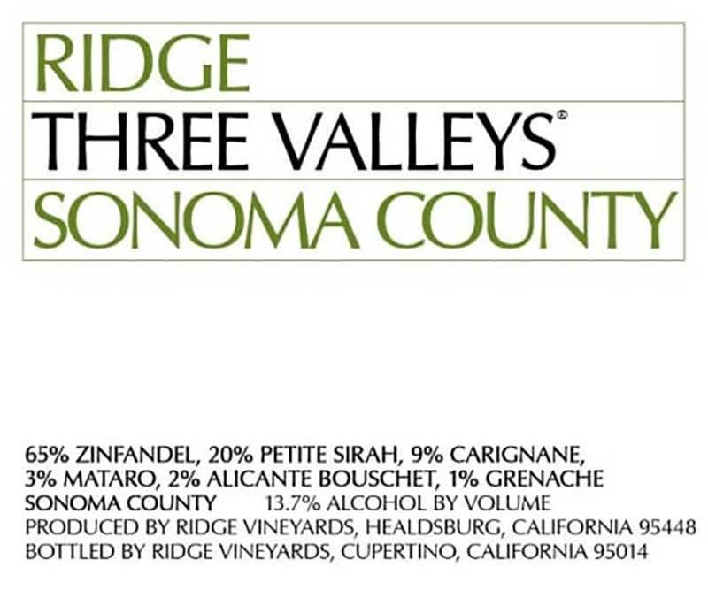 Ridge Three Valleys Zin