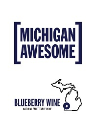 Michigan Awesome Blueberry Wine Front Label