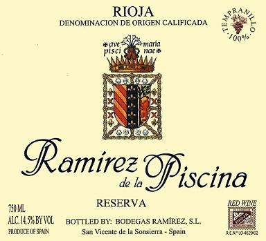Ramirez De La Piscina Rioja Reserva 2015